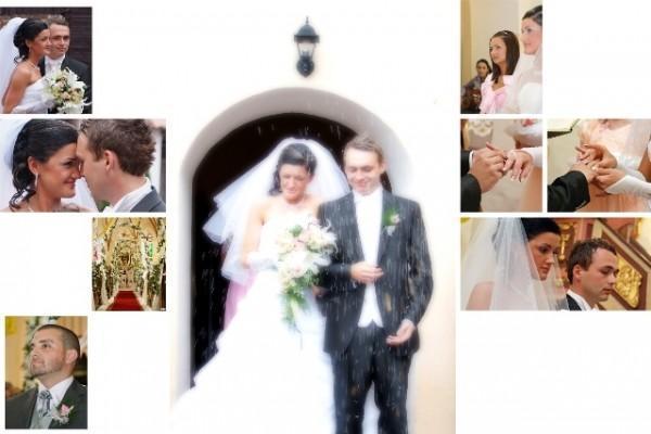 kolaż ze zdjęć ślubnych